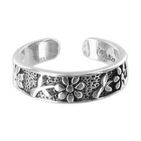 925 Sterling Silver Flowers Toerings #BDTS016