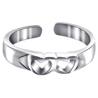 925 Sterling Silver Twin Open Heart Toerings