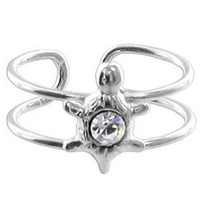 925 Sterling Silver Clear Cubic Zirconia Turtle Toerings #ZFTS001