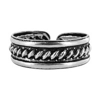 925 Plain Sterling Silver Braided Design 5mm Toerings #ZFTS018