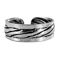925 Plain Sterling Silver Stripes Design 5mm Toerings #ZFTS019