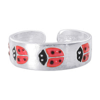 925 Sterling Silver Red and Black Enamel Ladybug Design 5mm Toerings #ZFTS025