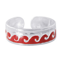 925 Sterling Silver Red Enamel Wave Design 5mm Toerings