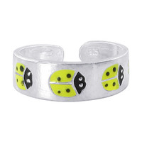 Sterling Silver Yellow and Black Enamel Ladybug Design 5mm Toerings