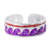 925 Sterling Silver Purple and Red Wave Design Toerings