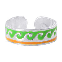 925 Sterling Silver Green and Orange Wave Design Toerings