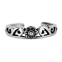 925 Sterling Silver Floral and Swirl Design Toe Ring