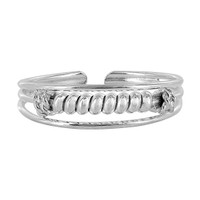925 Plain Sterling Silver Coiled Wire Design Toerings #PSTS011