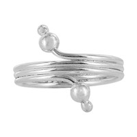 925 Plain Sterling Silver Wire Design with Ball Toerings #PSTS013