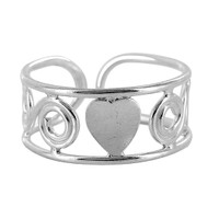 925 Sterling Silver Swirls and Single Heart Design Toe Ring