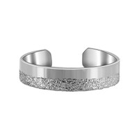 925 Sterling Silver Shiny and Silver Dust Texture Toe Ring