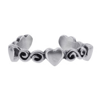 925 Sterling Silver Heart and Swirl Design Toerings