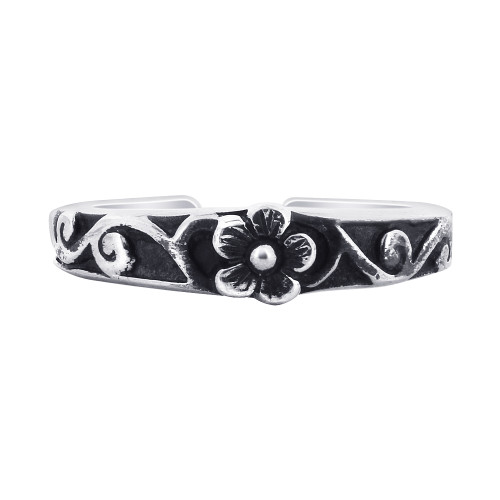 925 Sterling Silver Floral Design Toerings