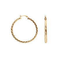 18k Gold Layered Braided Design Earrings (51mm Diameter Hoop)