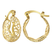 18k Gold Layered Filigree Design Hoop Earrings (14.5mm Diameter)