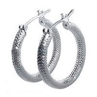 925 Sterling Silver 4mm Thick Hoop Earrings (28mm Diameter)