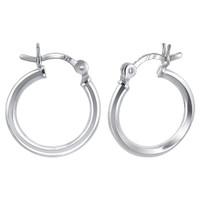 925 Plain Sterling Silver 2mm Thick Hoop Earrings (15mm Diameter) #BDES004