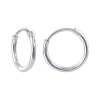 925 Sterling Silver 1mm wide Hoop Earrings (10mm Diameter)