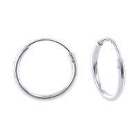 925 Sterling Silver 1mm wide Hoop Earrings (12mm Diameter) #BDES029