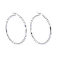 925 Plain Sterling Silver 2.5mm wide Hoop Earrings (50mm Diameter) #BDES037