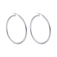 925 Plain Sterling Silver 2.5mm wide Hoop Earrings (45mm Diameter) #BDES038