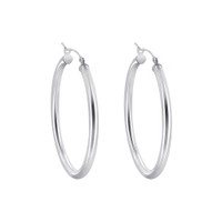 925 Plain Sterling Silver 2.5mm wide Hoop Earrings (35mm Diameter) #BDES041