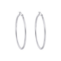 925 Sterling Silver 3mm wide Hoop Earrings (60mm Diameter)