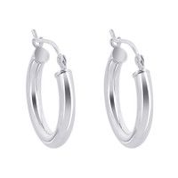 Sterling Silver 3mm wide Hoop Earrings (19mm Diameter)