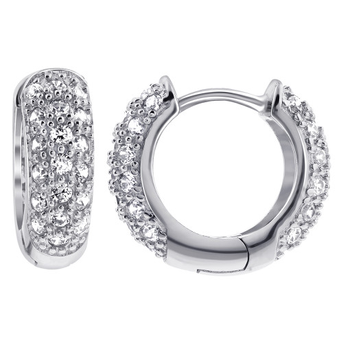 925 Sterling Silver Cubic Zirconia 4mm Thick Huggie Hoop Earrings 16mm Diameter