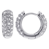 925 Sterling Silver Cubic Zirconia 4mm Thick Huggie Hoop Earrings (16mm Diameter)