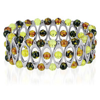 Sterling Silver Prominent Multicolor Amber 8 inch Bangle Bracelet