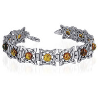 925 Sterling Silver Pleasing 12mm Round Amber Bangle Bracelet With Lobster Clasp