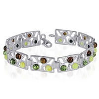 925 Sterling Silver 12mm Wide Multicolor Round Amber 7.5 inch Link Bracelet With Lobster Clasp