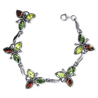 925 Sterling Silver Marquise Flower 1 inch Multicolor Amber 7 inch Bracelet With Lobster Clasp #ADBS021