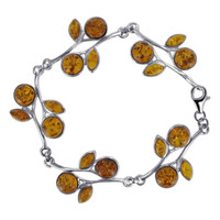 925 Sterling Silver Flower Leaf 1 inch Brown Amber 7.5 inch Bracelet With Lobster Clasp