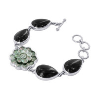 925 Sterling Silver 1 inch Floral 0.6 x 0.9 inch Teardrop Cabochon Onyx 7 inch Bracelet with Toggle Clasp