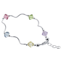 Sterling Silver 7mm Bicone Multicolor Crystal 8.5 inch Wavy Handmade Bracelet Made with Swarovski Elements #bb5
