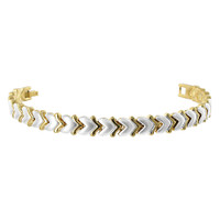 Two tone Magnetic Link Bracelet with Fold Over Clasp
