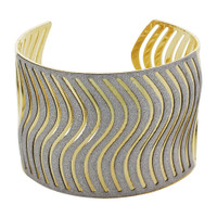 Gold Tone Paved Curvy Silver Dust Texture Cuff Bracelet #FFBR066