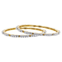 Gold Plated Simulated Clear Stones Ethnic Bangle Bracelets Size 2.6 Set of 2 #JB056-06
