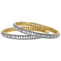 Two Tone Clear Cubic Zirconia Paved Design Bangle Bracelet Size 2.6 set of 2 #JB094
