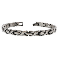 Silver Hugs Kisses Magnetic 8 inch Link Bracelet with Fold over Clasps