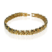 "Magnetic Gold Heart 7.5"" Bracelet with Fold over Clasps"