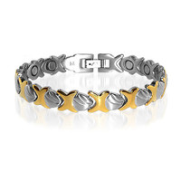 9mm wide Stainless Steel Two Tone Magnetic Golf Bracelet 7.75 inch #JBM4073TT