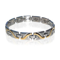 9mm wide Stainless Steel Magnetic Bracelet 8 Inches Long with Fold over Clasps #JBM5014TT