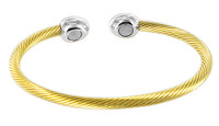 """Stainless Steel Gold Plated Magnetic Cuff Bracelet and 2.5"""""""