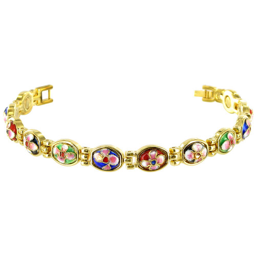 Enamel Flower Gold Plated Link 9 MM Wide Magnetic Bracelet 7.25 inch Long with Fold over Clasps