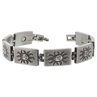 Oxidized Finish Face of the Sun Design Magnetic Link 8.5 inch Long Bracelet