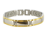 12mm Stainless Steel Two Tone Magnetic Bracelet 8.5 inch