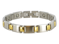 13mm Stainless Steel Two Tone Magnetic Bracelet 8.5 inch